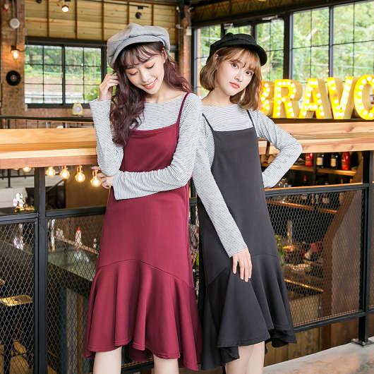 多色兩件式細肩帶魚尾裙洋裝