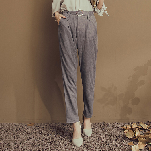 時髦姐姐絨面金屬釦環老爺褲
