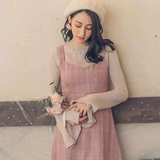韓妞LOOK珍珠裝飾袖開衩針織上衣