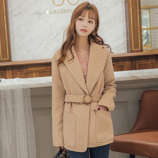 時髦韓國姐姐翻領綁帶西外大衣