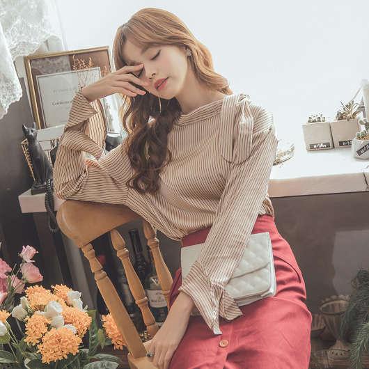 韓國ONI STYLE領口綁帶荷葉袖條紋上衣