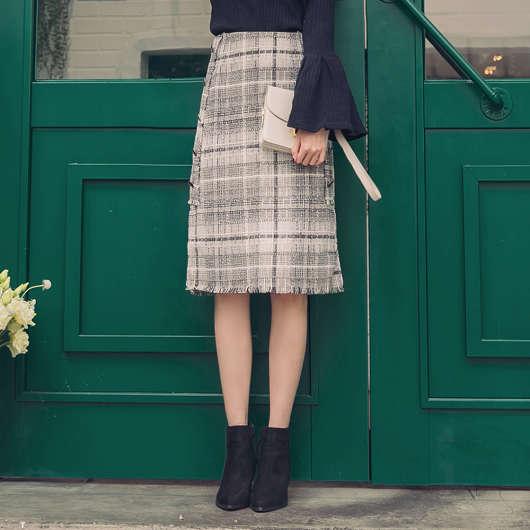 法式優雅配色格紋排釦開衩中長裙