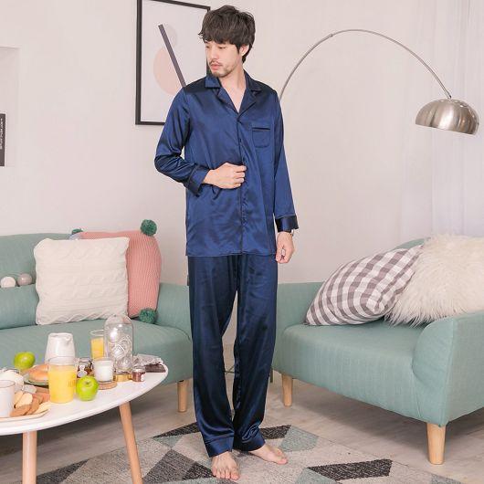 暖男形象情侶款緞面睡衣兩件式套裝