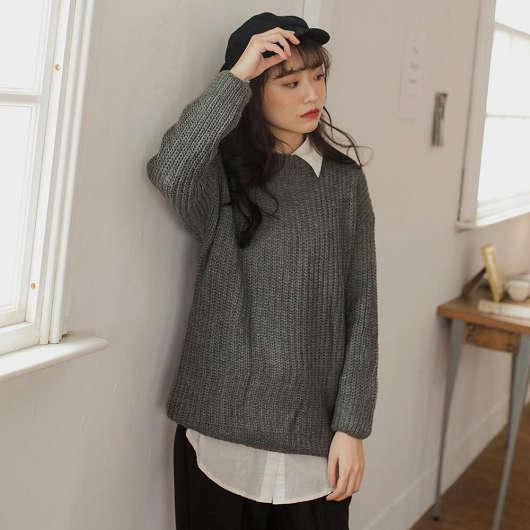 冬日必備針織多色圓領鬆軟長袖毛衣