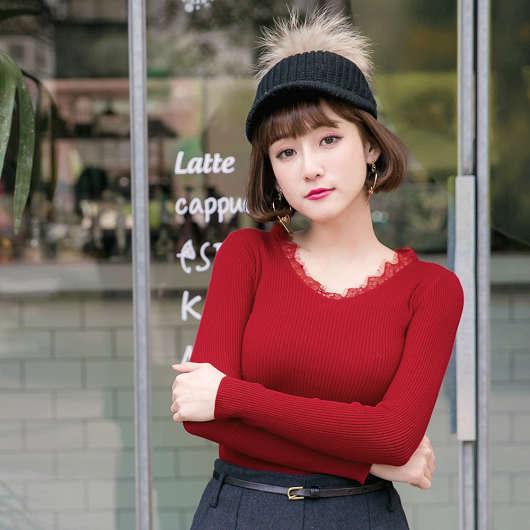 多色優雅甜美領口蕾絲針織上衣
