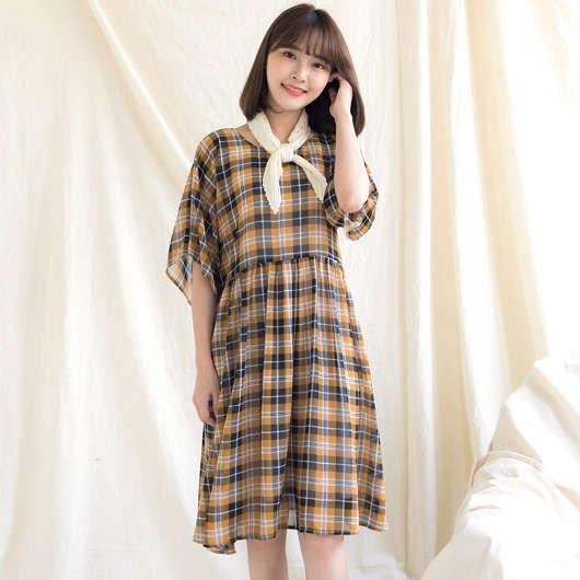 鄉村女孩格子洋裝