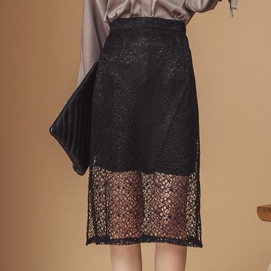 韓國姐姐系側開叉包臀蕾絲裙