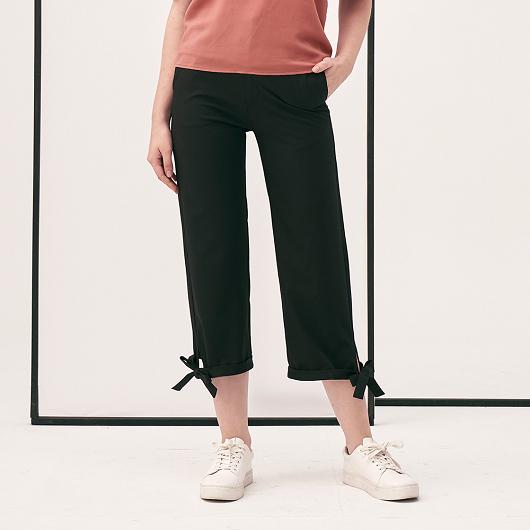 可愛休閒褲腳綁帶造型寬褲