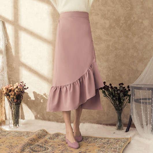 浪漫街頭排釦荷葉不對稱下擺長裙