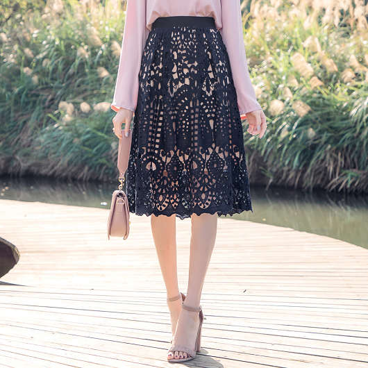 韓系質感全蕾絲撞色透底A字裙
