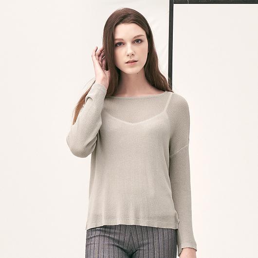 質感透膚微性感設計多色針織上衣-附背心