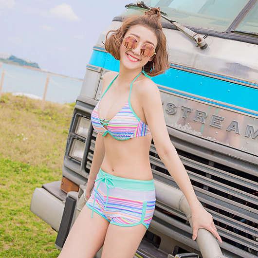 多色俏皮條紋綁帶兩件式泳裝