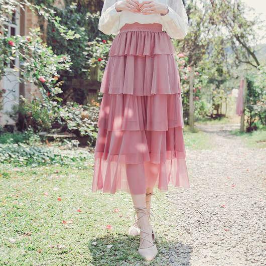 浪漫唯美多色微光澤感層次蛋糕裙長裙
