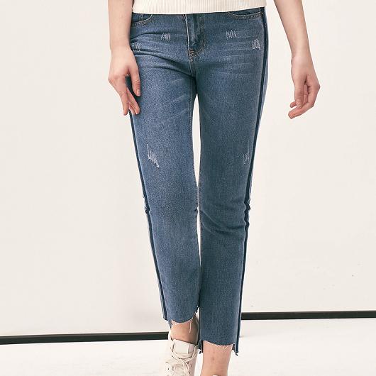 丹寧系個性抽鬚配色設計牛仔褲