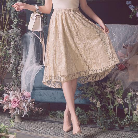 浪漫柔美優雅蕾絲前短後長傘襬長裙