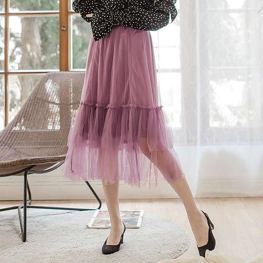 多色浪漫層次薄紗長裙