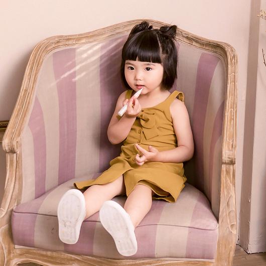 酷琪琪聯名甜美氣質蝴蝶結細肩帶洋裝-童