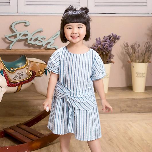 酷琪琪聯名休閒條紋設計感棉質洋裝-童