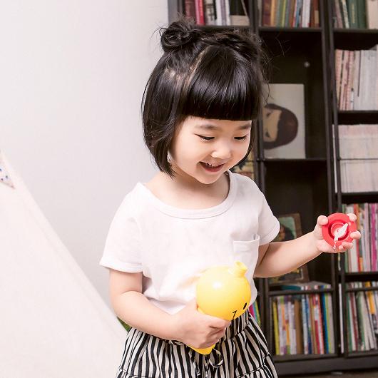 酷琪琪聯名親膚極簡素色棉質上衣-童