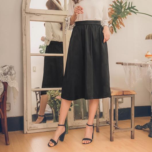 YOCO-經典優雅黑傘擺長裙