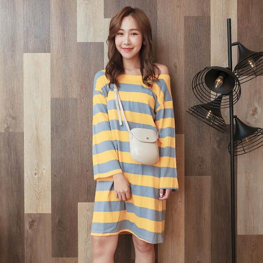 tokichoi-糖彩俏皮附綁帶條紋洋裝