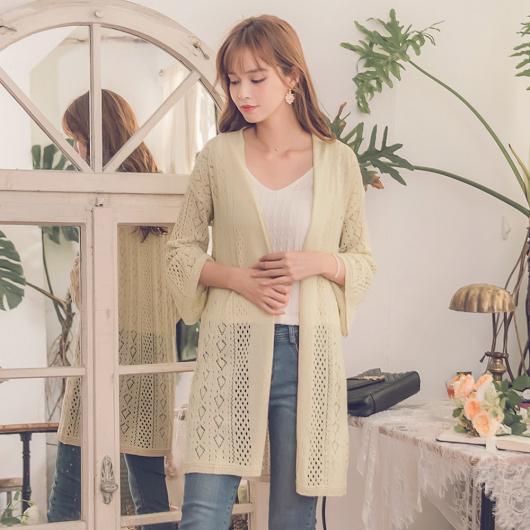 柔美淡雅簍空針織長袖罩衫