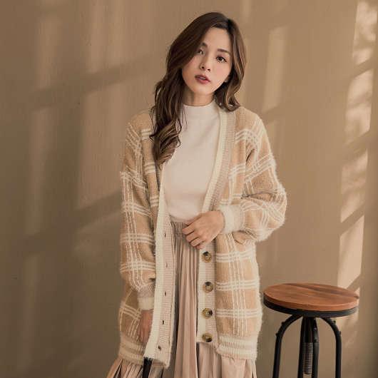 亮色英倫風格紋慵懶V領毛衣寬鬆外套