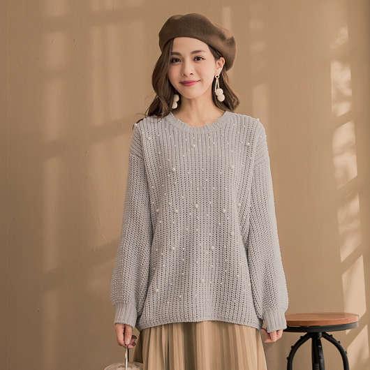雪尼爾甜美日系珠珠點綴毛衣