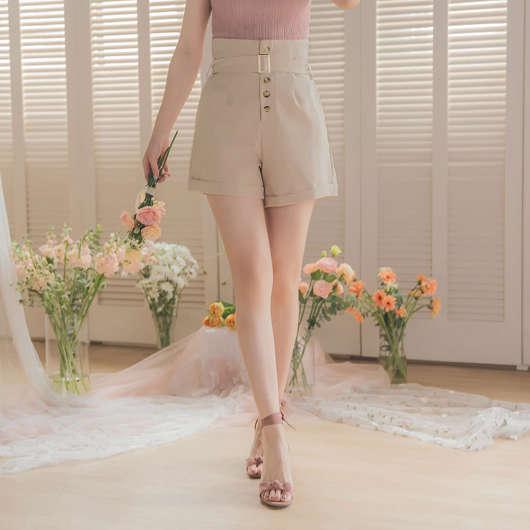 YOCO-反骨女孩高腰排釦附腰帶反褶短褲
