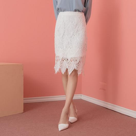 韓妞迷人高腰鏤空蕾絲修身窄裙