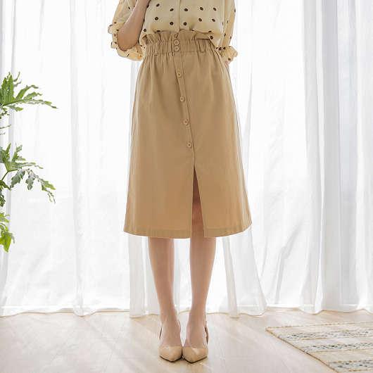 tokichoi -日系鄰家荷葉腰頭下開岔排釦裙