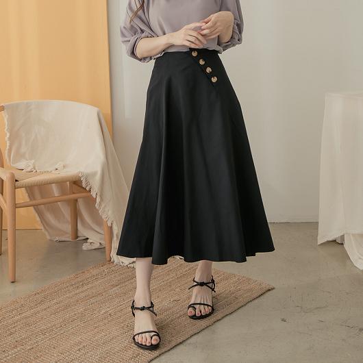 氣質可愛多色斜釦設計A字傘裙