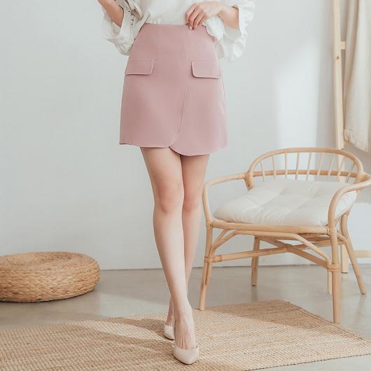 溫柔婉約假口袋造型多色A字短裙