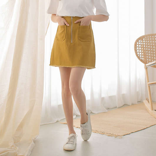 tokichoi -歐膩大推雙口袋不收邊多色牛仔裙