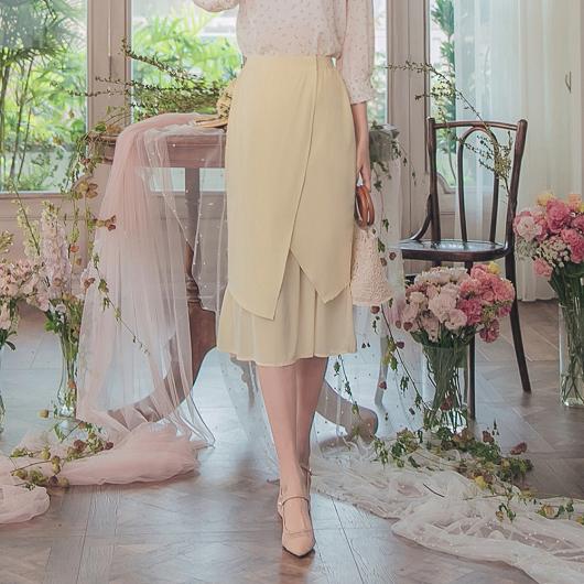 YOCO-優雅浪漫不對稱剪裁雪紡魚尾中長裙