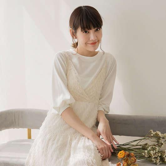 tokichoi -品牌嚴選親膚舒適圓領澎袖棉質上衣