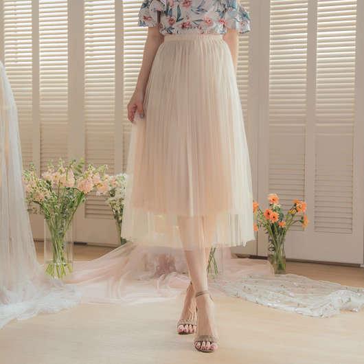 YOCO-浪漫優雅多色腰鬆緊飄逸紗裙