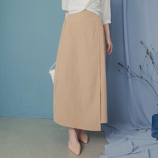 KODZ-輕鬆駕馭後鬆緊一片裝飾A字裙