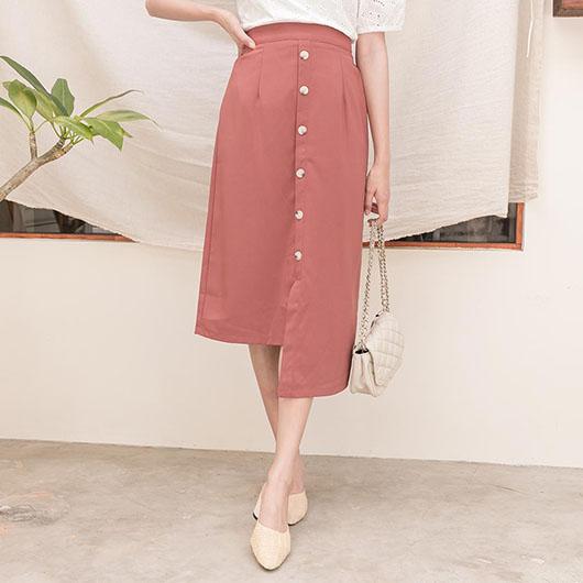 KODZ-氣質優雅多色排釦設計不規則長裙