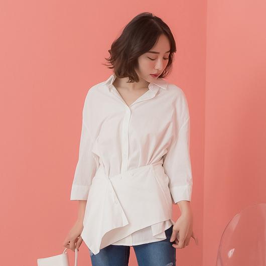 KODZ-知性女人腰間交錯可調式排釦設計襯衫