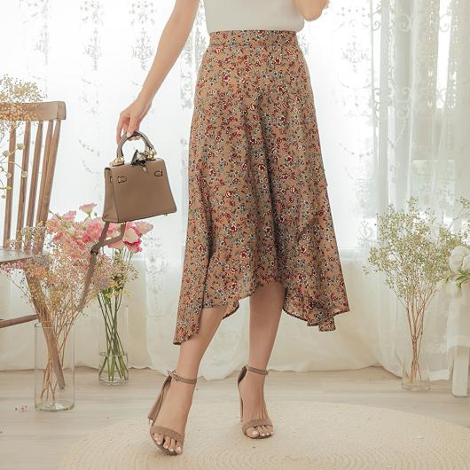 YOCO-氣質優雅小碎花後鬆緊不規則長裙