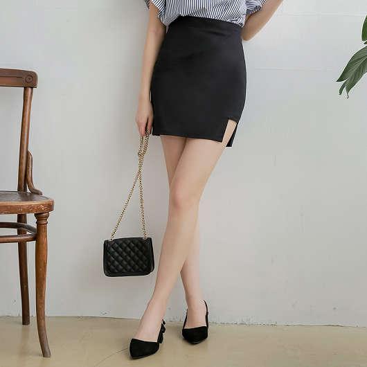 tokichoi-質感顯瘦後拉鍊挖洞翹臀包裙