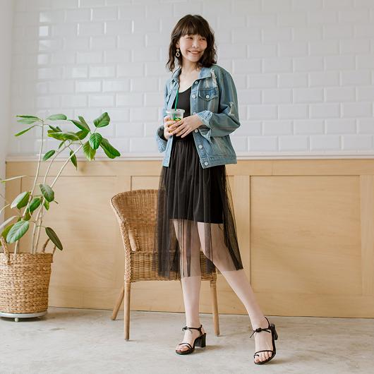 tokichoi-穿搭必備細肩帶連身紗裙