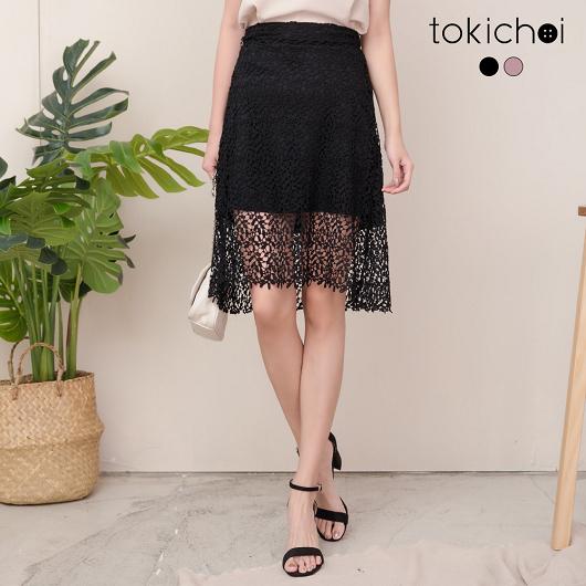 tokichoi-龐克性感蕾絲腰圍鬆緊A字裙