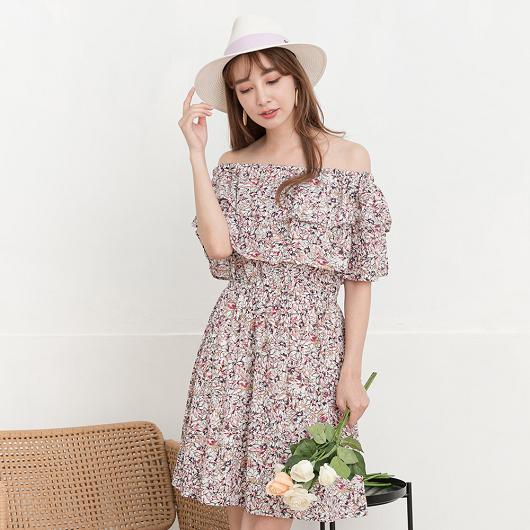 YOCO-浪漫柔美兩穿鬆緊荷葉平口碎花洋裝