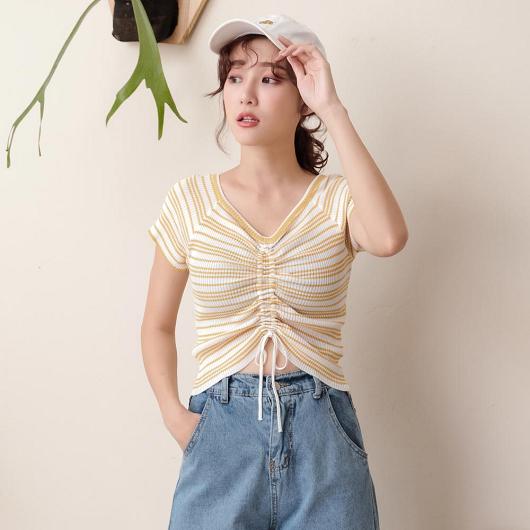 tokichoi-青春洋溢撞色條紋抽繩設計多色上衣