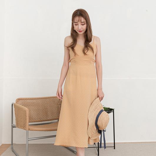 YOCO-清新氣質點點後綁帶造型細肩帶洋裝