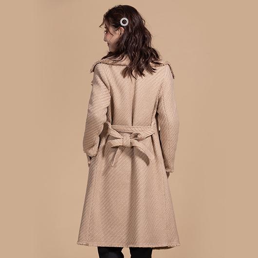 KODZx許允樂-小樂風毛呢編織綁帶長版大衣/外套