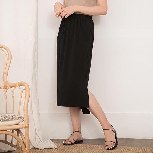 tokichoi-簡約氣質腰鬆緊下擺開衩長裙