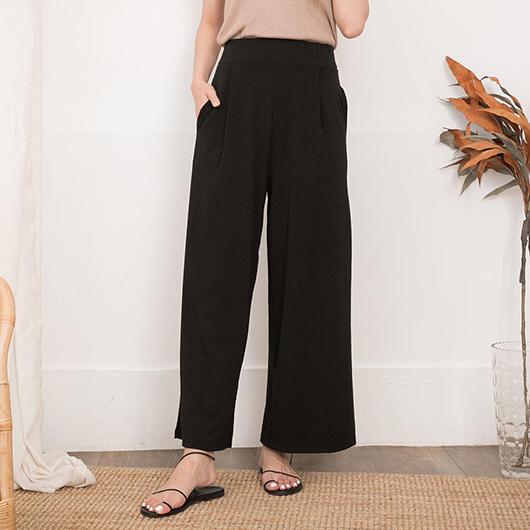 KODZ-俐落休閒腰鬆緊打摺設計長褲